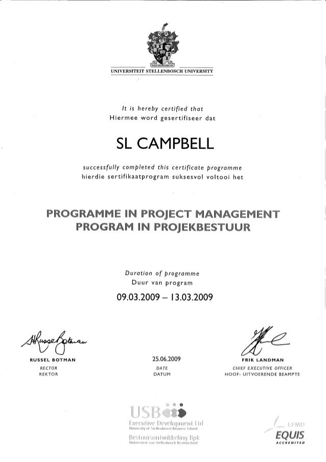 Project Management Certificate Universtity Stellenbosch