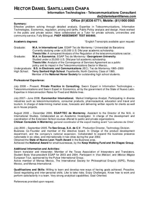 HECTOR DANIEL SANTILLANES CHAPA Information Technologies - Telecommunications Consultant ds@danielsantillanes.com Office (...