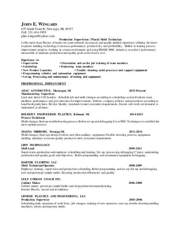 john e wingard 635 south trout st newaygo mi - Cabinet Maker Resume