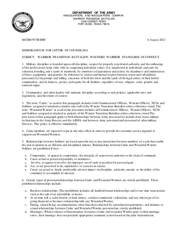 ww standards of conduct letter of counseling
