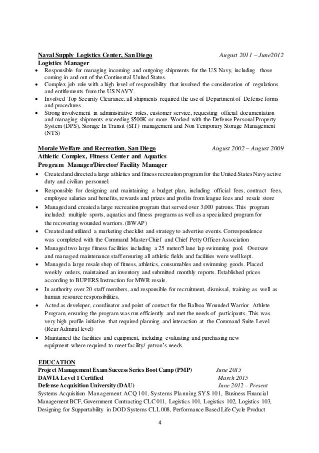 navy logistics specialist resume free federal resume sample from