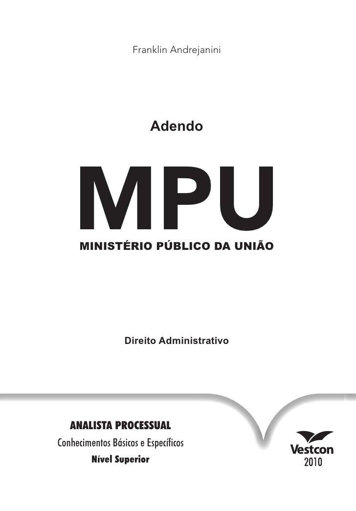 MPU - Adendo - Direito Administrativo - Analista Processual