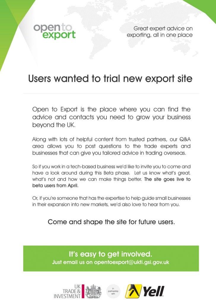 Open To Export Flyer