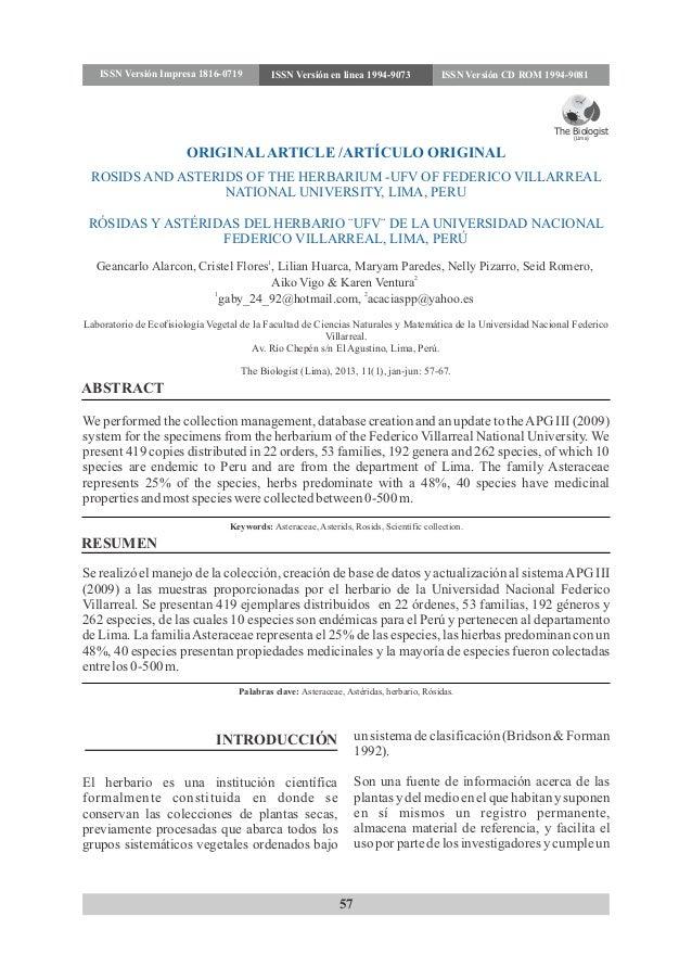 ORIGINALARTICLE /ARTÍCULO ORIGINAL 57 ROSIDS AND ASTERIDS OF THE HERBARIUM -UFV OF FEDERICO VILLARREAL NATIONAL UNIVERSITY...