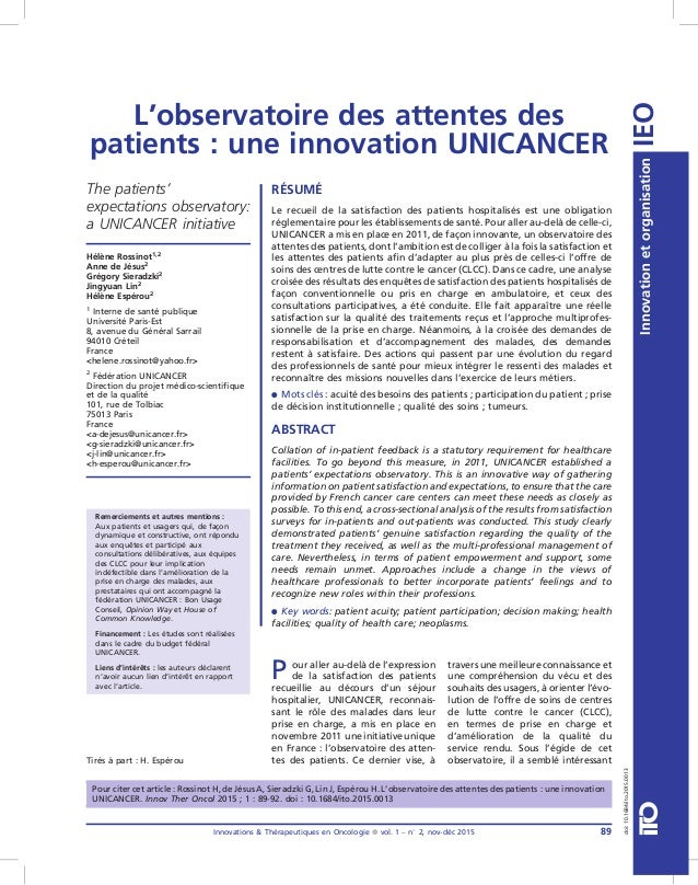 L'observatoire des attentes des patients : une innovation UNICANCER P our aller au-delà de l'expression de la satisfaction...