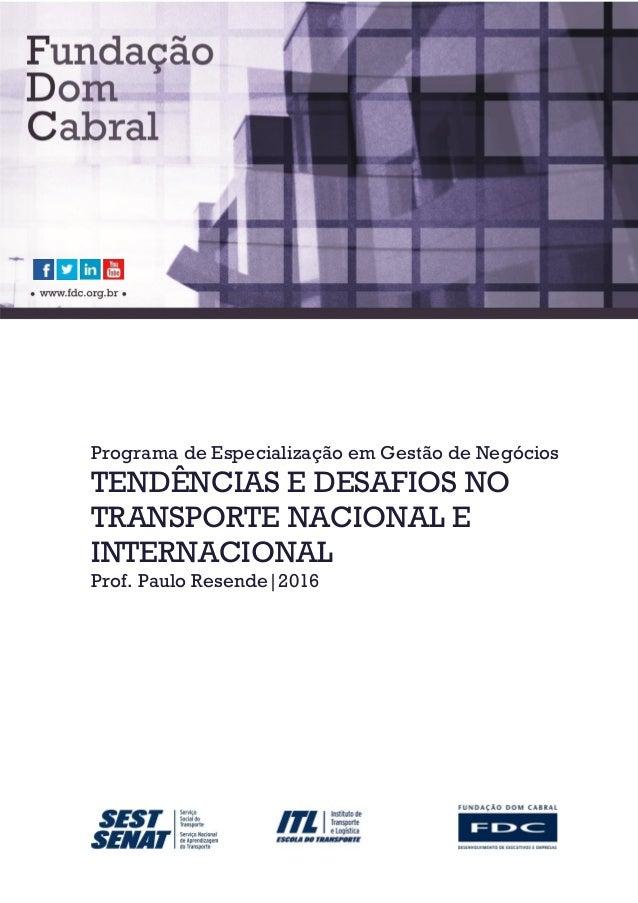 Programa de Especialização em Gestão de Negócios TENDÊNCIAS E DESAFIOS NO TRANSPORTE NACIONAL E INTERNACIONAL Prof. Paulo ...