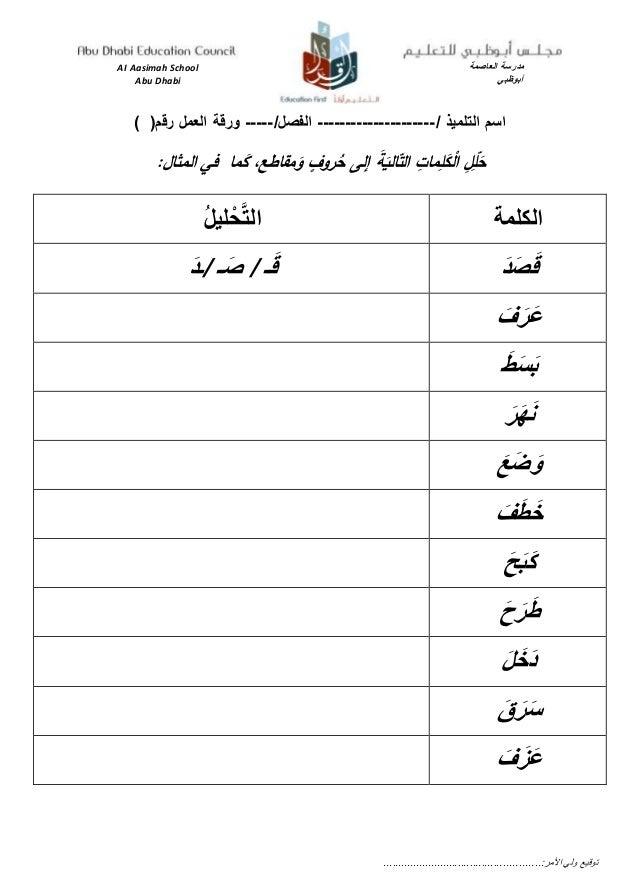 AI Aasimah School مدرسةالعاصمة Abu Dhabi أبوظبي / التلميذ اسم---------------------/الفصل-----(رقم العمل و...