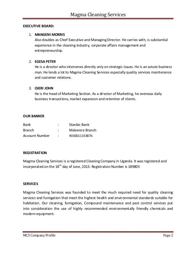 Magma Cleaning Services MCS Company Profile Page 2 EXECUTIVE BOARD: 1. MANGENI MORRIS Also doubles as Chief Executive and ...
