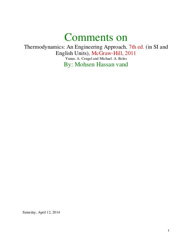 Cengel thermodynamics 1 1 comments on thermodynamics an engineering approach 7th ed fandeluxe Images