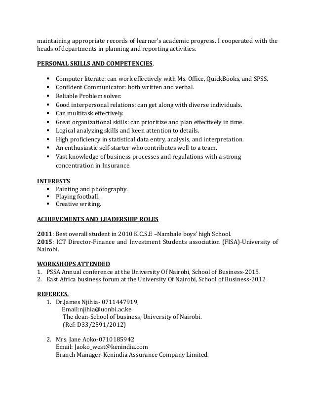fredrick onyango resume pdf - High Proficiency In Microsoft Office