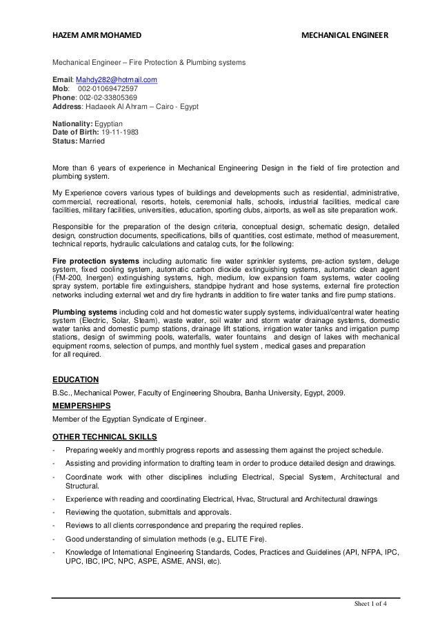 plumbing design engineer resume