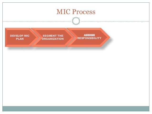 MIC Process DEVELOP MIC PLAN SEGMENT THE ORGANIZATION MAP THE PROCESS ASSIGN RESPONSIBILITY