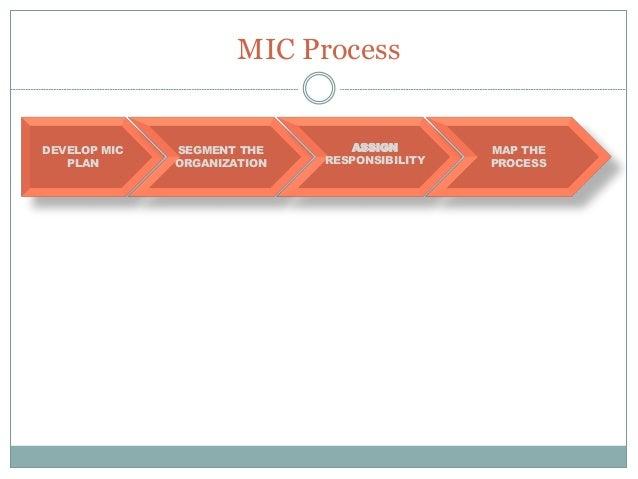 MIC Process DEVELOP MIC PLAN SEGMENT THE ORGANIZATION MAP THE PROCESS IDENTIFY RISK/CONTROL ASSIGN RESPONSIBILITY