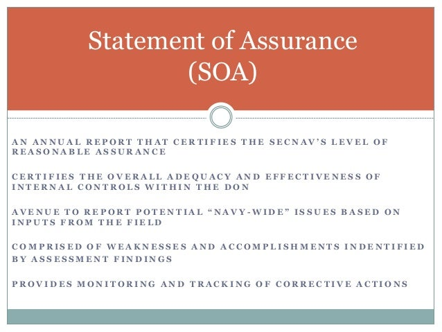 SOA Online Tool The Tool encompasses all four segments of the SOA reporting requirements:  New Weaknesses  Prior Period ...