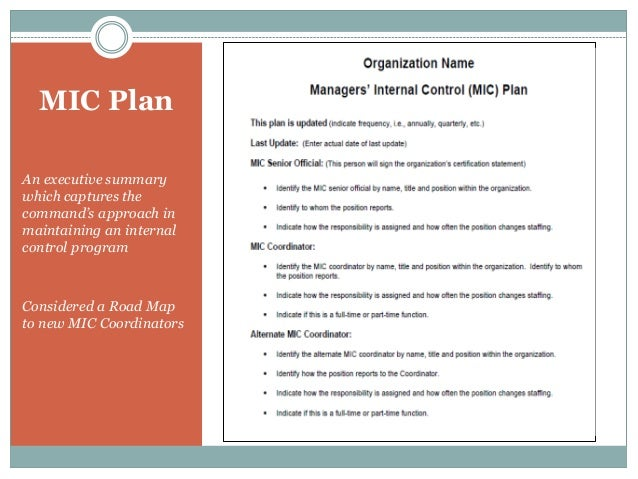MIC Plan An executive summary which captures the command's approach in maintaining an internal control program Considered ...