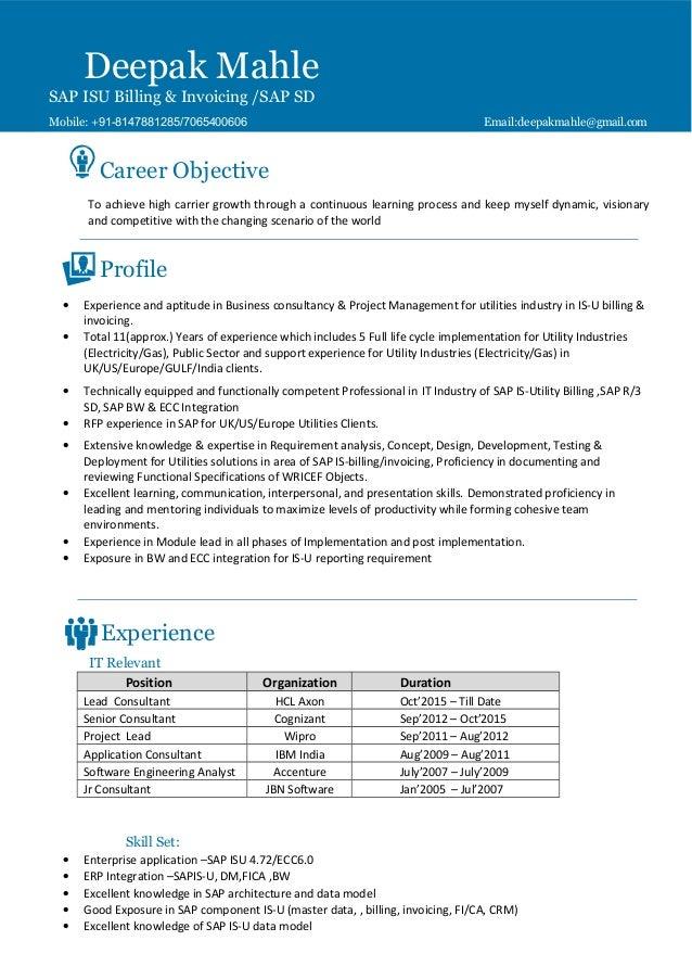 Deepak Mahle -SAP IS U Billing & Invoicing