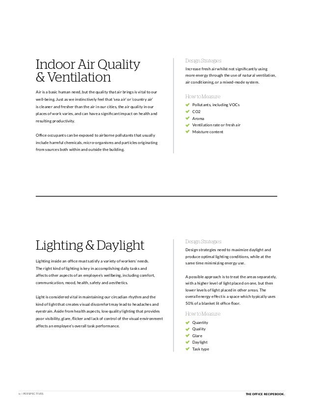 iv | PERSPECTIVES THE OFFICE RECIPE BOOK. Indoor Air Quality & Ventilation How to Measure Design Strategies Design Strateg...