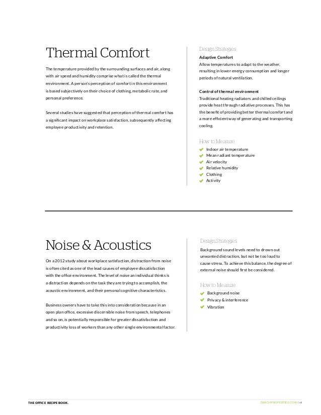 DAIICHIPROPERTIES.COM | viiTHE OFFICE RECIPE BOOK. Noise & Acoustics How to Measure On a 2012 study about workplace satisf...
