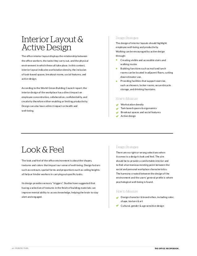 viii | PERSPECTIVES THE OFFICE RECIPE BOOK. Interior Layout & Active Design How to Measure The office interior layout disp...