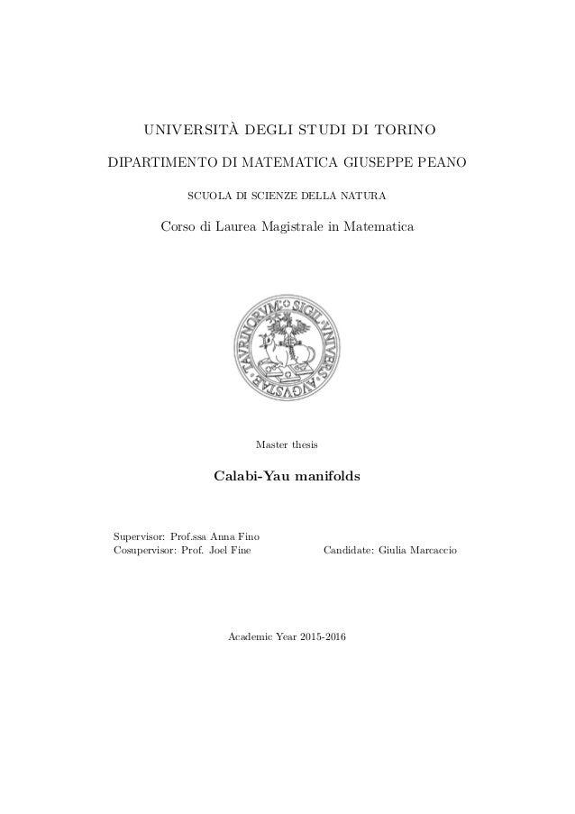 UNIVERSITÀ DEGLI STUDI DI TORINO DIPARTIMENTO DI MATEMATICA GIUSEPPE PEANO SCUOLA DI SCIENZE DELLA NATURA Corso di Laurea ...