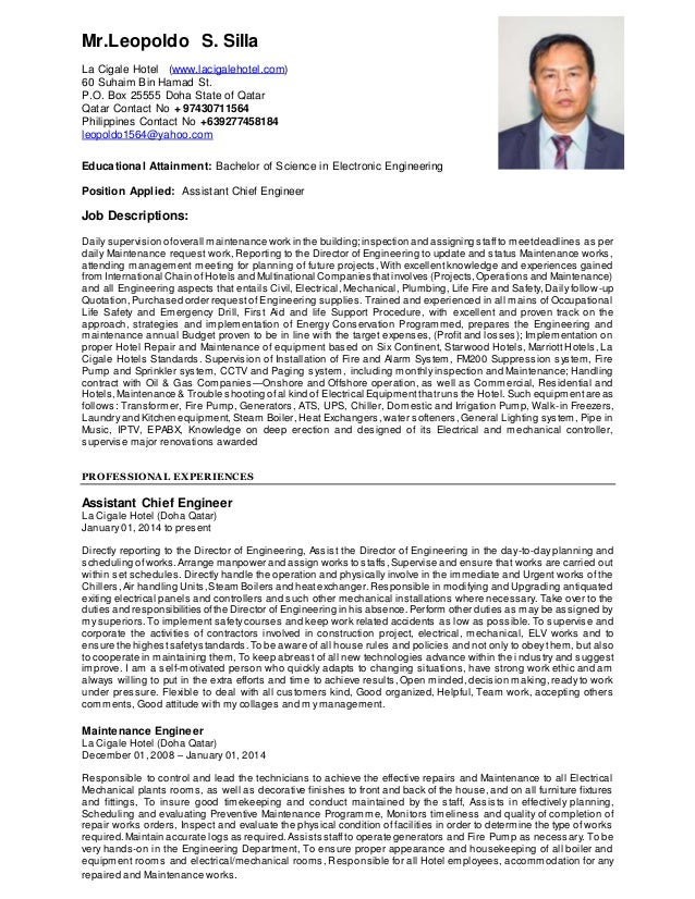 Paul CV With Cover Letter. Mr.Leopoldo S. Silla La Cigale Hotel  (www.lacigalehotel.com) Engineering ...
