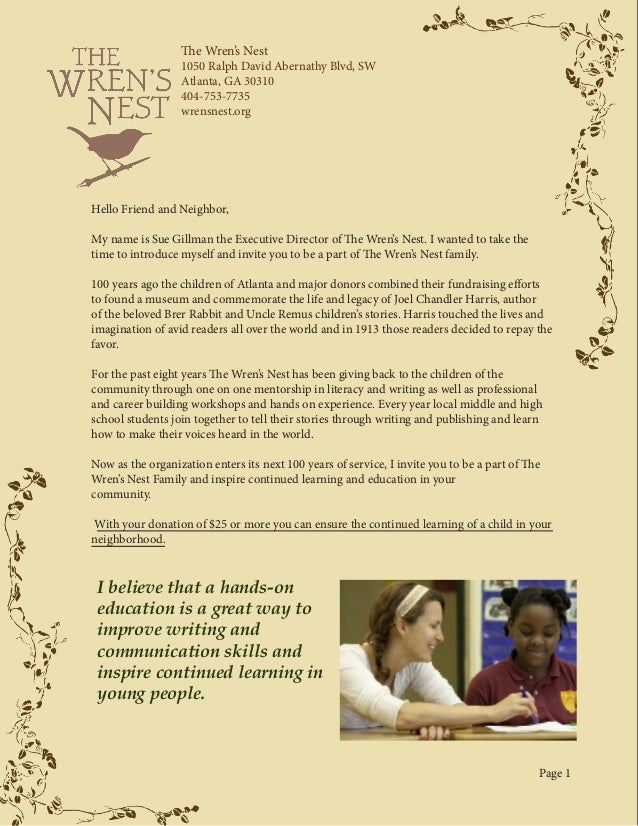 The Wren's Nest Donor Solicitation Packet