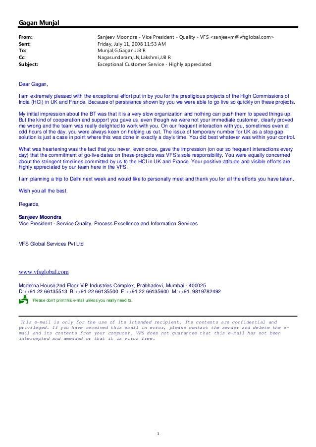 Customer Appriciation Note- VFS