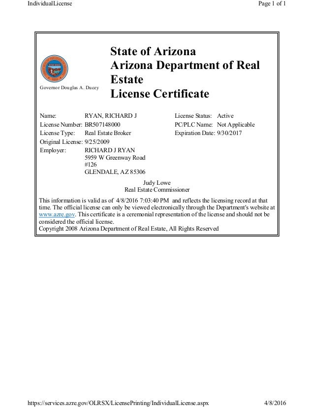 Arizona Real Estate Broker License