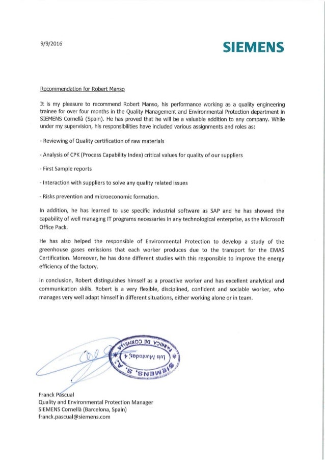 recommendation letter from the quality and environmental