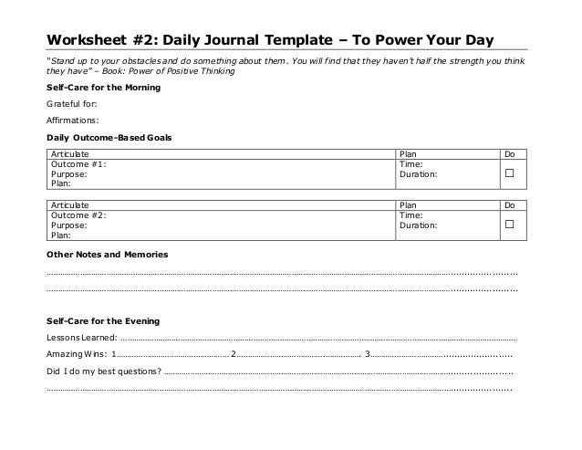 daily journal template