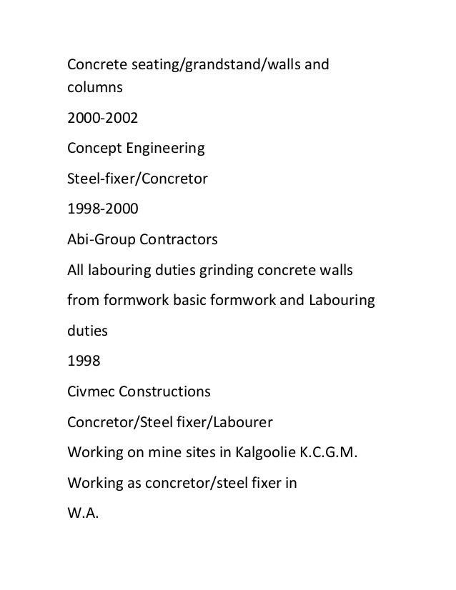 steel fixer resume cv2015march download air force civil engineer