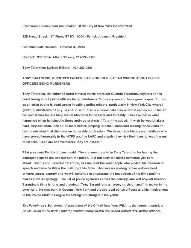 Patrolmen's Benevolent Association Of the City of New York Incorporated 125 Broad Street, 11th Floor, NY NY 10004 - Patric...
