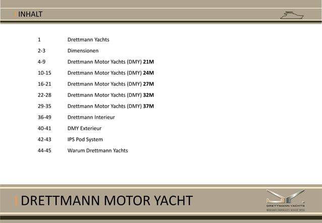 I DRETTMANN MOTOR YACHT I INHALT 1 Drettmann Yachts 2-3 Dimensionen 4-9 Drettmann Motor Yachts (DMY) 21M 10-15 Drettmann M...
