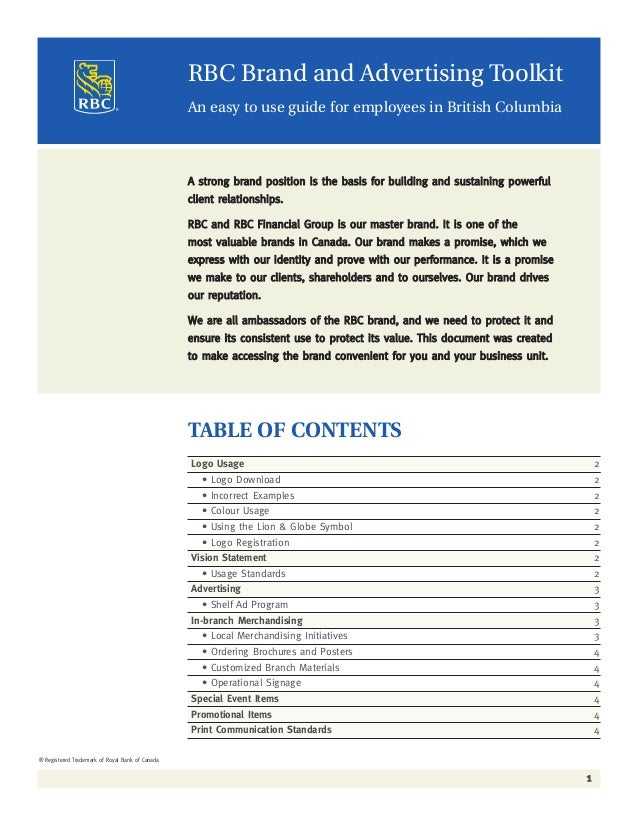 RBC Brand and Advertisng Toolkit - November 2004