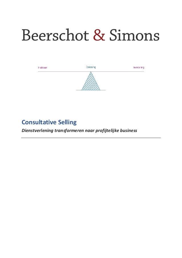 Consultative Selling Dienstverlening transformeren naar profijtelijke business