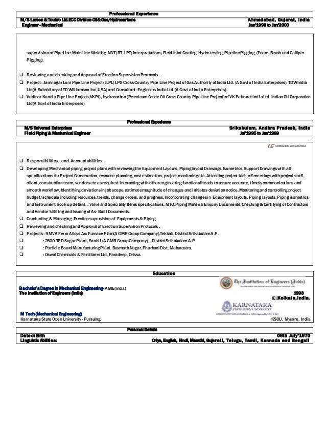bkr engg  piping epc resume