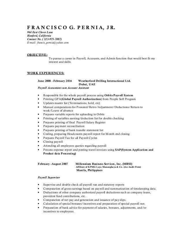 latest resume of francis pernia 2016docs