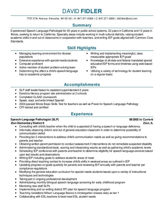 Speech. Cover Letter For Speech Language Pathologist ...  Speech Language Pathologist Resume