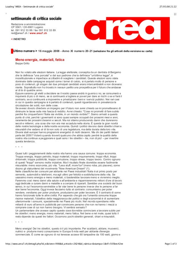 """Loading """"AREA - Settimanale di critica sociale""""  27/05/08 21:22  Redazione e amministrazione: CP 5561 / CH-6901 Lugano tel..."""