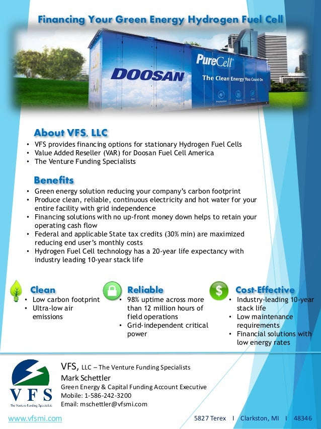 Financing Your Green Energy Hydrogen Fuel Cell - 21SEPT2016