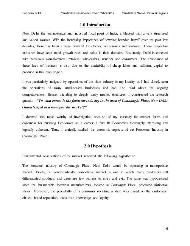 economics extended essay market structure