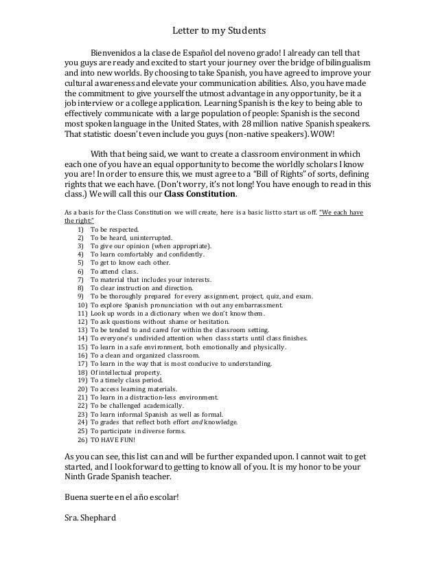 Welcome letter to students letter to my students bienvenidos a la clase de espaol del noveno grado i already spiritdancerdesigns Gallery