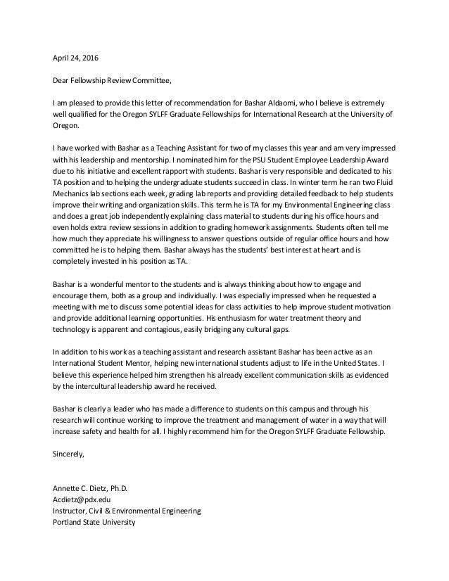Dr DeitzS Recommendation Letter