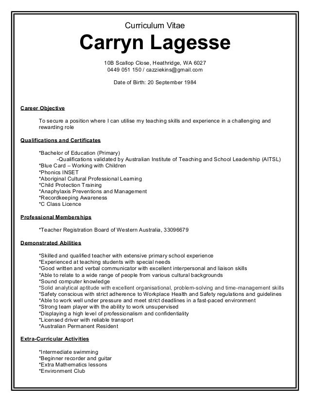Professional Resume Of Carryn Lagesse