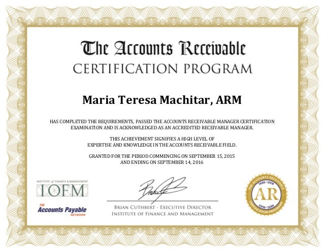 arm certificate certification slideshare accounts receivable manager upcoming