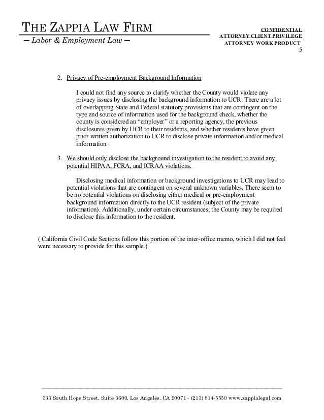 Memo re HIPAA violation Issues - new writing sample 121515