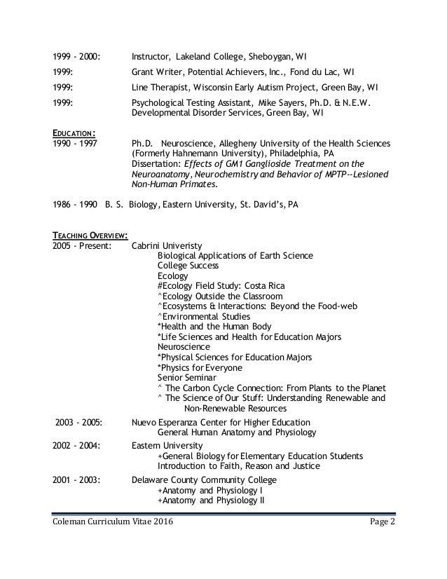 Coleman Curriculum Vitae 9 22 2016