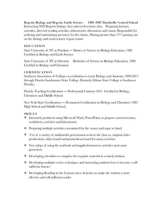 2. Regents Biology ...  Biology Student Resume