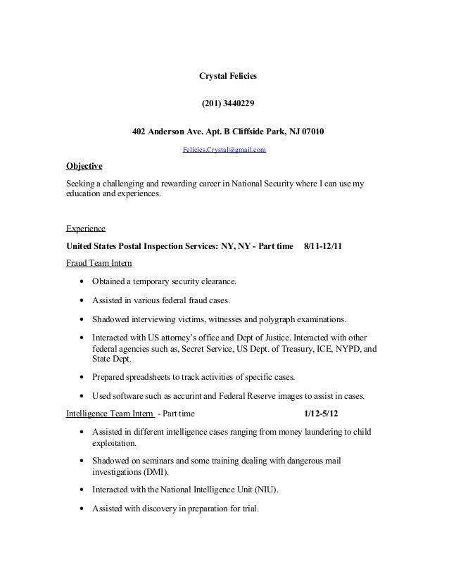 Crystal Felicies (201) 3440229 402 Anderson Ave. Apt. B Cliffside Park, NJ 07010 Felicies.Crystal@gmail.com Objective Seek...