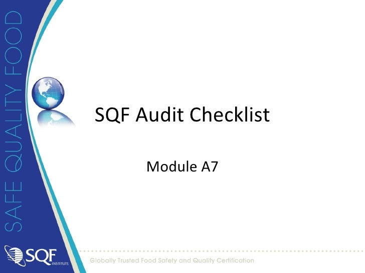 Sqf audit checklist